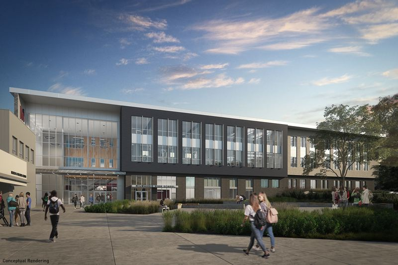 COURTESY: BRIC ARCHITECTURE/ATOMIC SKY - The new academic building at Milwaukie High School, a replacement for an oudated 1925 building, features modern materials and daylighting strategies.