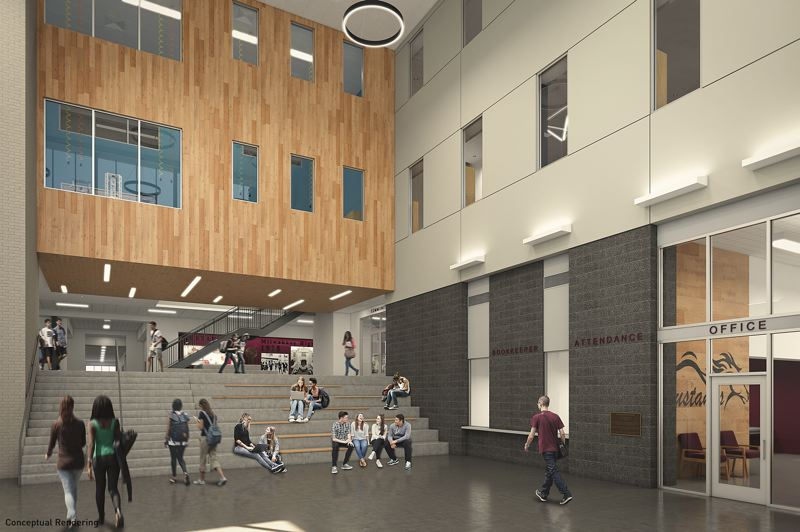 COURTESY: BRIC ARCHITECTURE/ATOMIC SKY - The new main academic building will feature a lobby with seat steps that will be topped off with a new maker-space area.