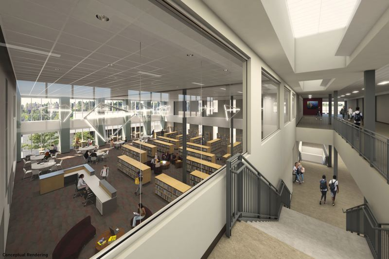 COURTESY: BRIC ARCHITECTURE/ATOMIC SKY - The multimedia area will serve as a focal point in Milwaukie High Schools new main building, which is currently under construction.