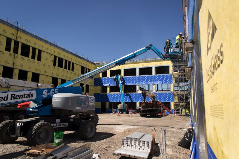 PMG PHOTO: JAIME VALDEZ -  Construction on a new three-story, 128-square-foot main building began last summer. The building is scheduled to be ready for students for the fall 2020 term.