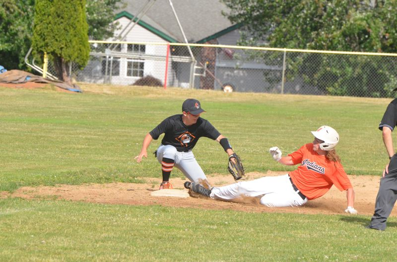 COURTESY PHOTO: JOHN BREWINGTON - Ben Anicker of the Scappoose Indians' OIBA team slides safely into third base with a triple against Gladstone.