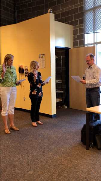COURTESY PHOTO: CANBY SCHOOL DISTRICT - Dawn Depner (left) and Stefani Carlson take their oath of office at the June 20 school board meeting.