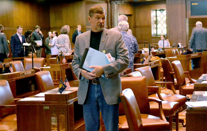 PMG PHOTO: CLAIRE WITHYCOMBE - Sen. Brian Boquist, a Dallas Republican who made threatening comments at the beginning of the weeklong GOP walkout, returned to the Senate floor Sunday, prompting Sen. Sara Gelser of Corvallis to walk out in protest.