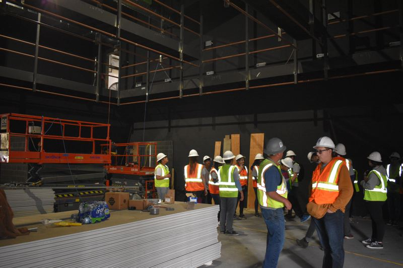 PMG PHOTO: TERESA CARSON - Incoming ninth-grade students take a look around the new black box theater.