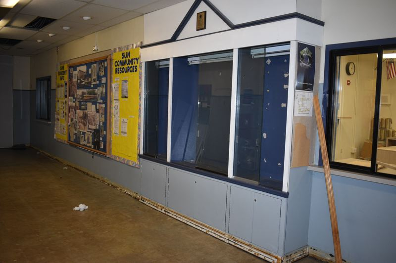 PMG PHOTO: TERESA CARSON - The schools old main office is cleaned out and the trophy cases emptied as the school id readied to be demolished.
