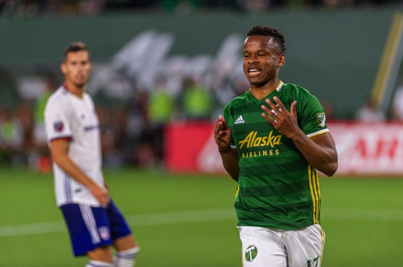 COURTESY PHOTO: DIEGO G. DIAZ - Jeremy Ebobisse of the Portland Timbers agonizes over a close miss during Sunday's 1-0 victory over FC Dallas.