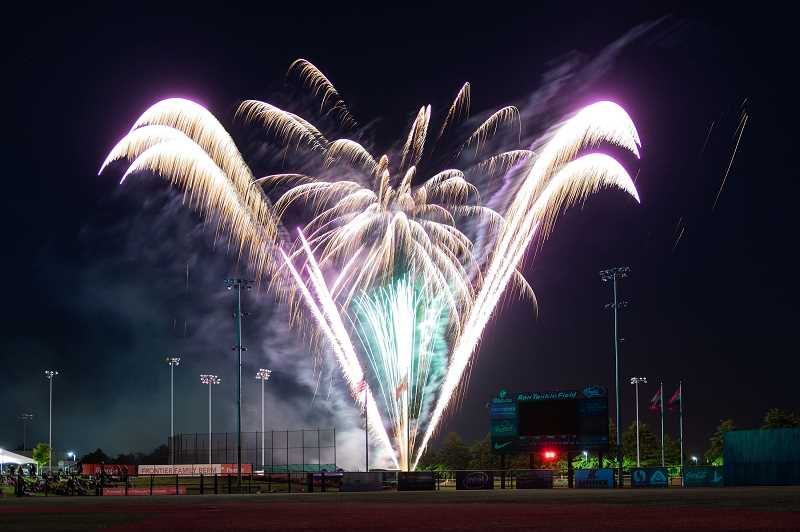 COURTESY PHOTO - Fireworks lit up the sky after the Hillsboro Hops played the Vancouver Canadians at Ron Tonkin Field.