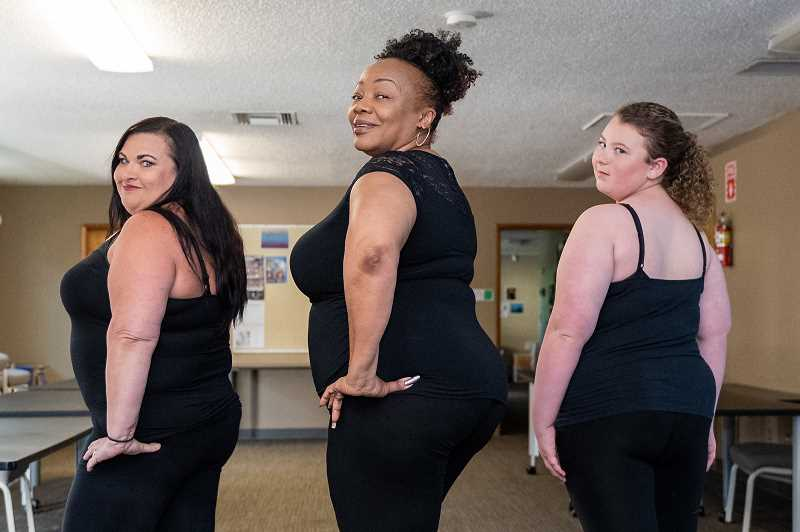 PMG PHOTO: CHRISTOPHER OERTELL - Twelve-year-old Hailey Hellstrom (far right) is excited for her first opportunity to join a Curvy Chic fashion show after watching her mom, Teresa, participate the last 18 months.