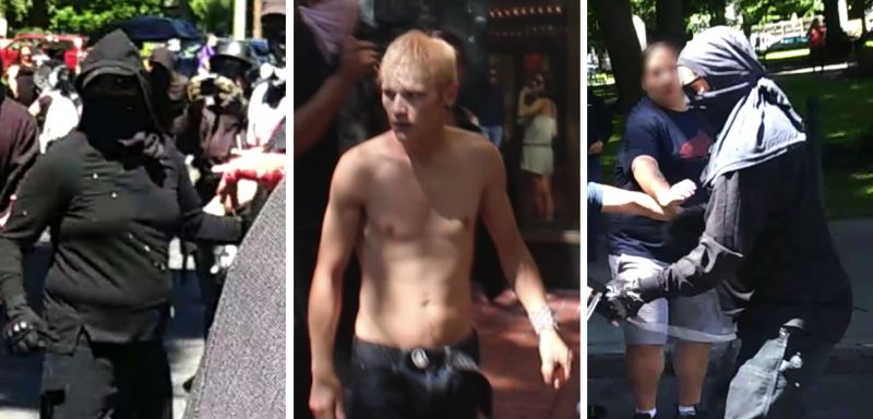 VIA PPB - FROM LEFT: A female assault suspect, an male assault suspect shown near Sixth Avenue and Morrison Street in downtown Portland, and a robbery suspect.