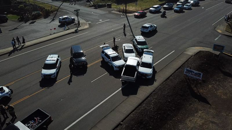 COURTESY PHOTO: COWLITZ COUNTY SHERIFF'S OFFICE - An overhead view captured by  Cowlitz County Sheriff's Office Deputy Craig Murray from a drone camera showing how deputies were able to pin a stolen vehicle and stop a pursuit on Sunday, June 30.