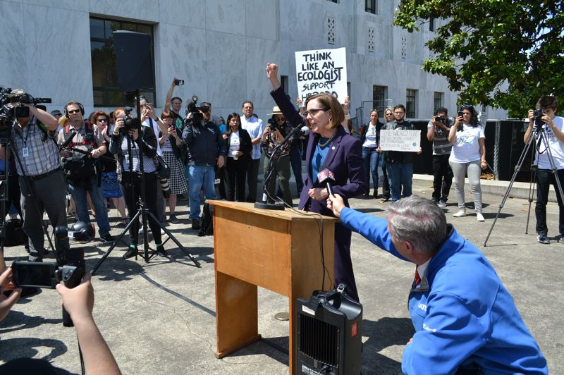 PMG FILE PHOTO - Gov. Kate Brown pressed lawmakers in late June to support controversial environmental legislation. She told reporters Monday, July 1, that she would consider other ways to enact a cap-and-trade law that prompted a GOP walkout.