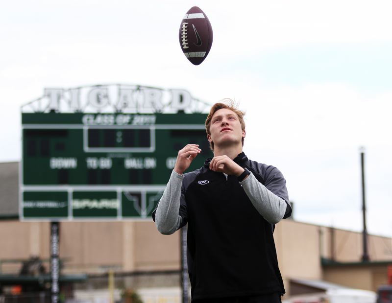PMG PHOTO: DAN BROOD - Fletcher Ahl, a 2019 Tigard graduate, shined for the Tiger football and baseball teams, and was named the Times' Athlete of the Year from the school.