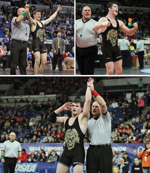 PMG PHOTOS: MILES VANCE - West Linn's Sean Harman was named the West Linn Tidings Athlete of the Year for 2018-19 after finishing his career with state championships in 2017 (top left), 2018 (top right) and 2019.