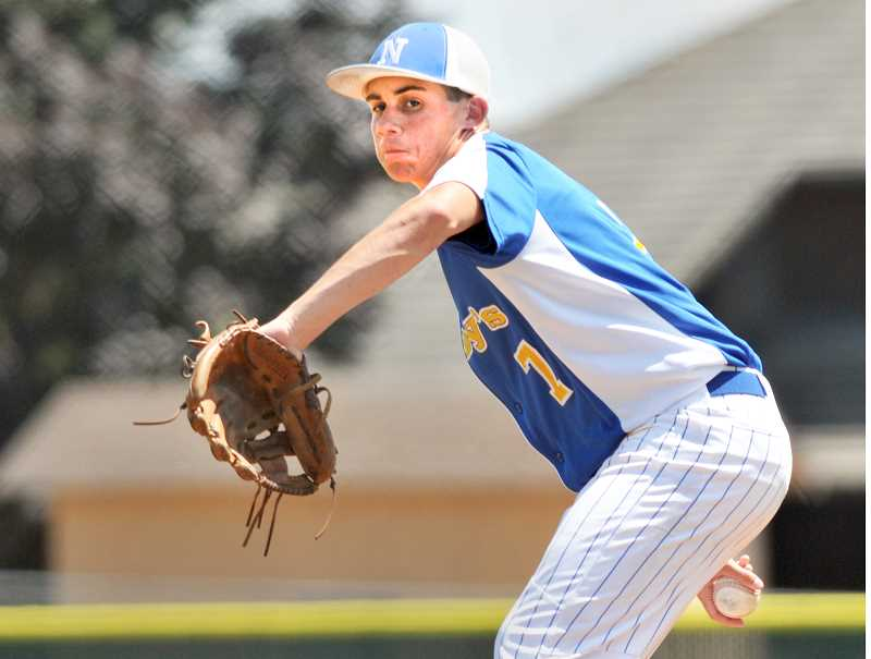 GRAPHIC PHOTO: GARY ALLEN - Abby's pitcher Kyler Erion has been one of the team's top pitchers this summer.