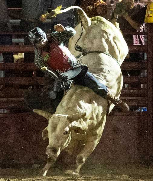 LON AUSTIN/CENTRAL OREGONIAN - Henry Blades of Sublimity attempts to ride Lucifer on Friday during the Crooked River Roundup. Blades was unable to stay on for the required eight seconds and received no score.