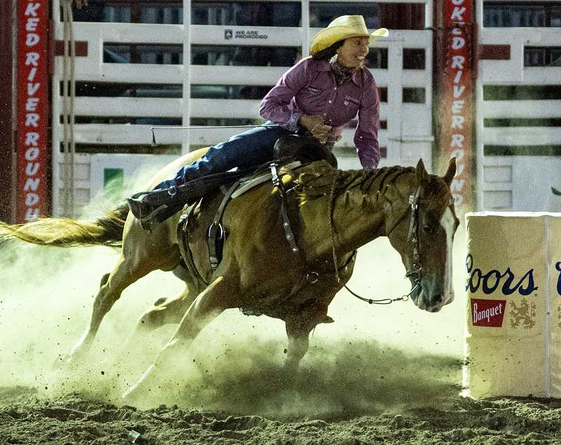 LON AUSTIN/CENTRAL OREGONIAN -  Teri Bangart finishes fourth in barrel racing with a time of 17.66 seconds.