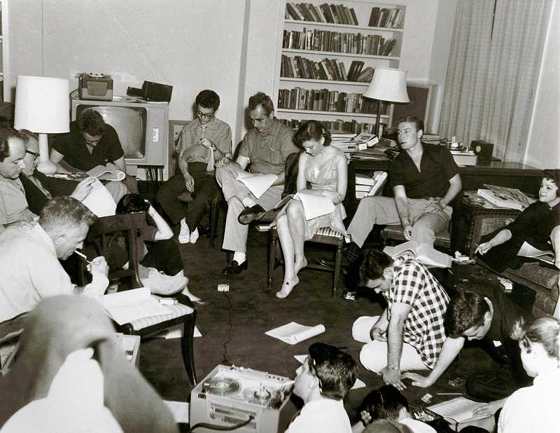 SHAWN LEVY'S COLLECTION - The cast of 'Rebel Without A Cause' rehearsing in one of the bungalows at Chateau Marmont