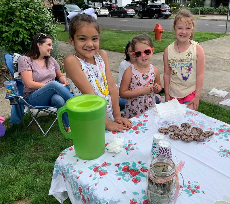 CAROL ROSEN - The girls and their moms await another customer during their time at Wait Park last week. From left, the girls are Audrianna Sharp and Emma and Carlee Walton, with Katie Walton behind and Brianna Sharp hidden behind Emma.