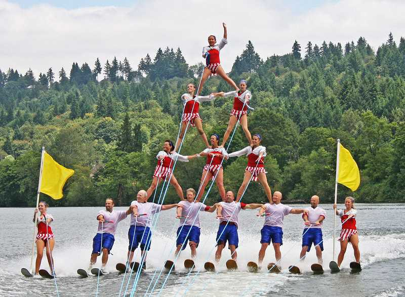 COURTESY PHOTO  - Dedication is in the DNA of the Portland Water Spectacular Show Team, which was formed in 1986. You can catch them at several local events this month.