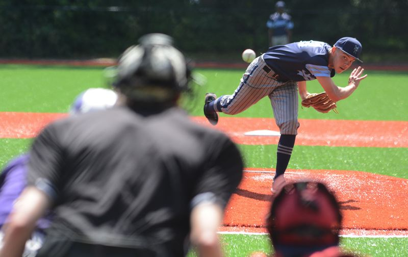 PMG PHOTO: DAVID BALL - Mt. Hood starter Jaden Wilkins fires a throw during the teams 2-1 extra-inning win over Boise in Fridays Firecracker opener.