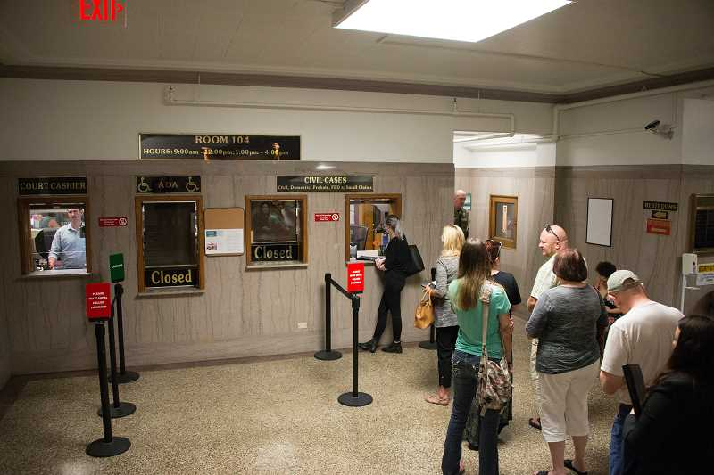 PHOTO: CLACKAMAS COUNTY PUBLIC AND GOVERNMENT AFFAIRS - Long wait lines are one of the many issues that the current courthouse poses.
