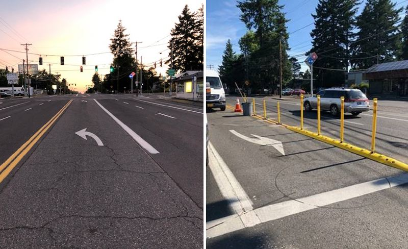 COURTESY PBOT  - A  before-and-after photo shows the new hardened centerline that was installed by work crews at Southeast Market Street and 122nd Avenue in June.