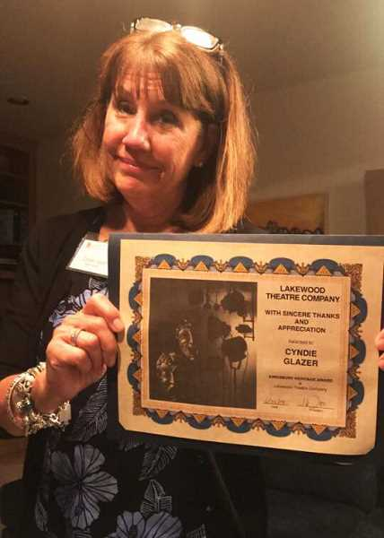 Cyndi Glazer was awarded the Betty Kingsbury Heritage Award for exemplary service to the theater.