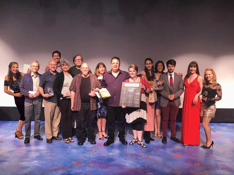 COURTESY PHOTOS  - The winners of this years OTAS winners ham it up at the recent annual meeting and awards ceremony at Lakewood Center for the Arts.