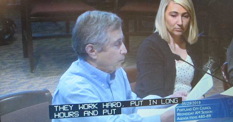 CITY OF PORTLAND STREAMING - Ken Zeidman, property owner, and Petrel Farcas, owner of Peachtree Gifts, testifying before the Portland City Council.