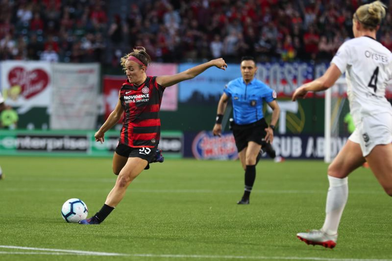 PMG PHOTO: JAIME VALDEZ - Gabby Seiler of the Portland Thorns takes a shot at the goal during Friday night's 1-0 loss at home to Reign FC.