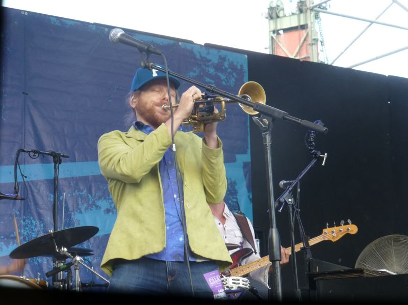 PMG PHOTO: SHANNON O. WELLS - Lech Wierzynski of The California Honeydrops rips a trumpet solo during the Oakland, California band's Waterfront Blues Festival performance on Friday, July 5.