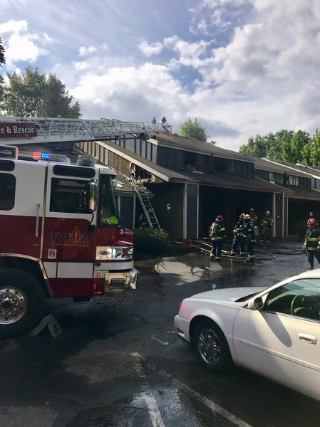 COURTESY PHOTO - Tualatin Valley Fire & Rescue crews responded to a fire at an apartment complex in Rock Creek on Friday, July 5.
