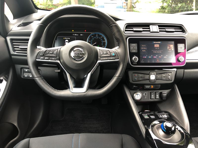 PMG PICTURE: JEFF ZURSCHMEIDE - The interior of the 2019 Nissan Leaf Plus is thoroughly contemprary and loaded with advanced technologies.