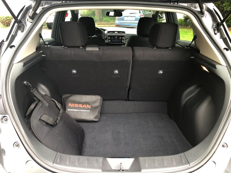 PMG PICTURE: JEFF ZURSCHMEIDE - Because the battery pack for the 2019 Nissan Leaf Plus are under the floor, it has plenty of cargo space behind the rear seats, and even more when they are folded down.