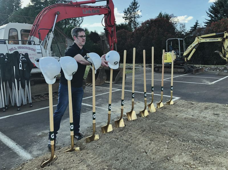 PMG PHOTO: STEPHANIE BASALYGA - Shovels and hard hats are at the ready prior to the groundbreaking for a new public safety building in Oregon City. Voters approved funding for the project in a special election held in September 2017.