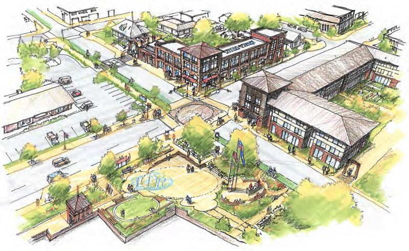 COURTESY ILLUSTRATION: CITY OF CORNELIUS - An artist's rendering shows what a redeveloped Cornelius town center could look like in several years' time, including a rebuilt Cornelius Elementary School and a community splash pad on blocks adjacent to Mazatlan Grill and the Cornelius Public Library.