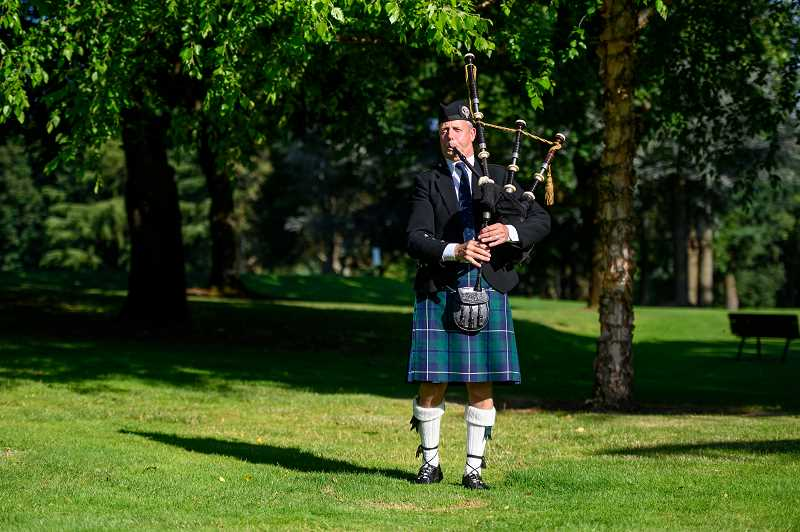 COURTESY PHOTO: EVERGREEN EVENT PHOTOGRAPHY - The skril of bagpipes cut through morning air, adding a sense of tradition to the 2019 Oliphant Community Golf Tournament.