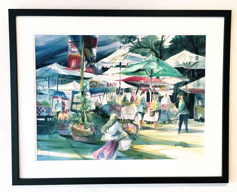 COURTESY PHOTO  - Sylvia Miller's watercolor 'Morning Market' is one of the many art pieces on exhibit at the Arts Council which was painted en plein air during June. The exhibit opens with a  reception July 12 from 5 to 7 p.m.