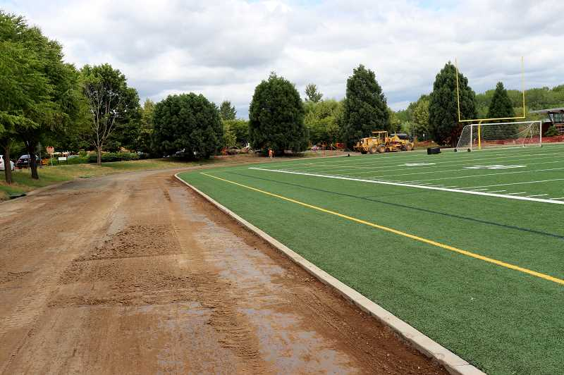 COURTESY PHOTO: ANDREW KILSTROM - Inza R. Wood Middle School's new track is being placed.