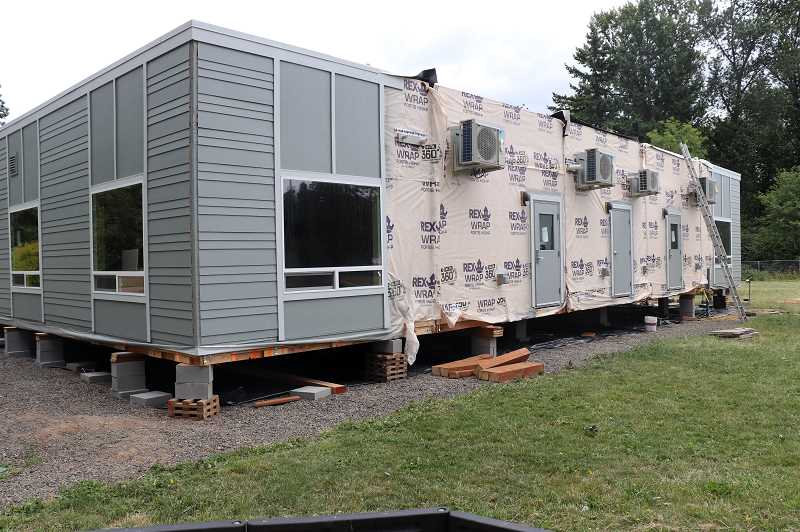 COURTESY PHOTO: ANDREW KILSTROM - New portables are being installed at Boeckman Creek, equipped with four classrooms and bathrooms.