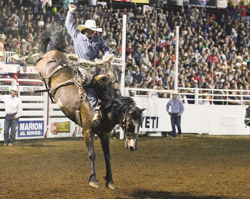 COURTESY PHOTO: HOOT CREEK - Nebraska's Cort Scheer is the 2019 St. Paul Rodeo saddle bronc riding champion. He scored 89 points, setting a new arena record for the rodeo.