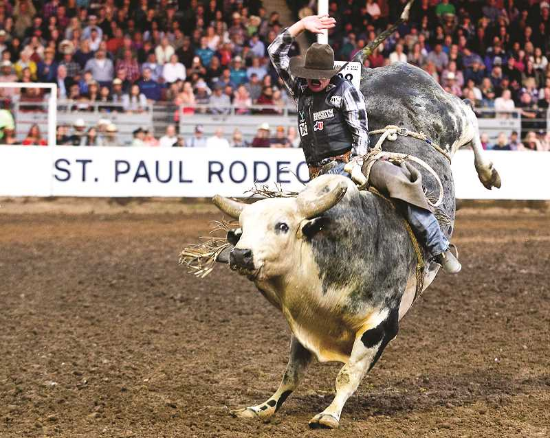 COURTESY PHOTO: HOOT CREEK - Boudreaux Campbell is the 2019 St. Paul Rodeo bull riding champion. The Crockett, Texas cowboy bested the field with a score of 90.5 points.