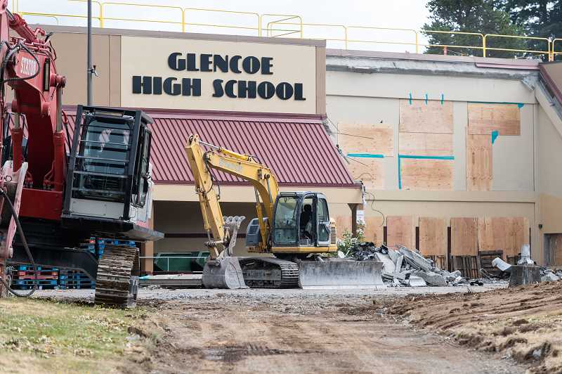 PMG PHOTOS: CHRISTOPHER OERTELL - Construction has begun at several Hillsboro schools this summer, including a new entrance at Glencoe High School.