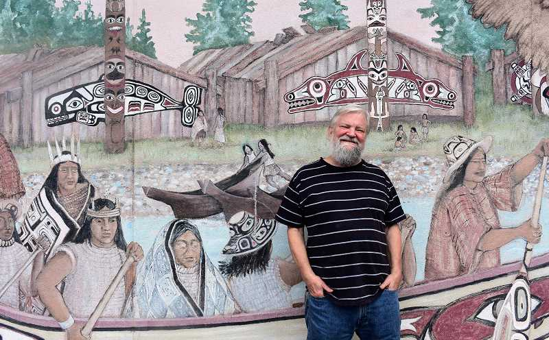 PMG PHOTO: EMILY LINDSTRAND - For their annual mural project, members of The Artback will restore John Freeses 2001 design, The Longhouse Mural.