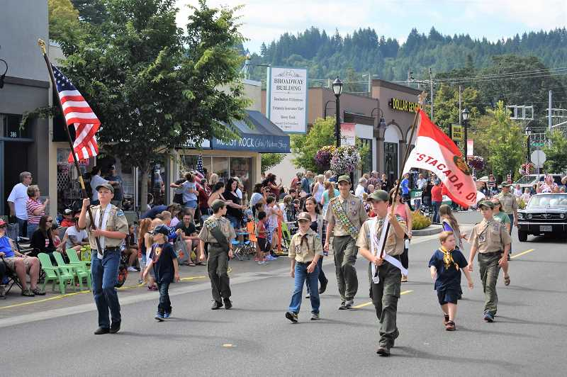 PMG PHOTO: EMILY LINDSTRAND - Local boy scouts walked in last week's Estacada Fourth of July parade.