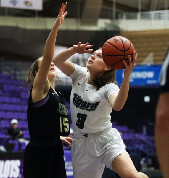 PMG PHOTO: DAN BROOD - Campbell Gray (3), a 2019 Tigard High School graduate, was named the Three Rivers League girls basketball Player of the Year for the second straight season.
