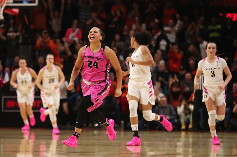 PMG FILE PHOTO: JAIME VALDEZ - Destiny Slocum, Oregon State guard, reacts as the Beavers defeat Oregon last season.