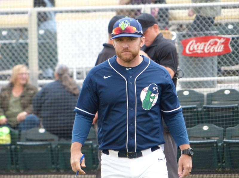 PMG PHOTO: KYLE GARCIA - Portland Pickles manager Justin Barchus team has strides still to make offensively in the second half of the West Coast League season.