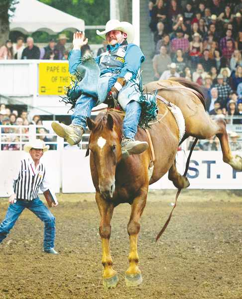 PHOTOS COURTESY OF HOOT CREEK - Trenton Montero won the bareback riding competition with an 87-point ride on a horse named Onion Ring.