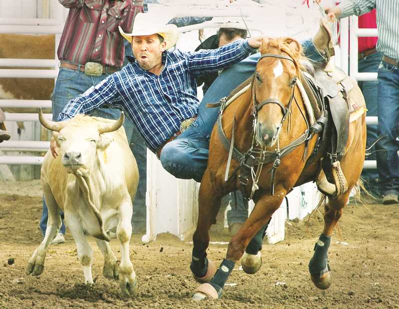 PHOTO COURTESY OF HOOT CREEK - Riley Duvall was one of two champions in steer wrestling, sharing his crown with fellow Oklahoman Blake Mindemann